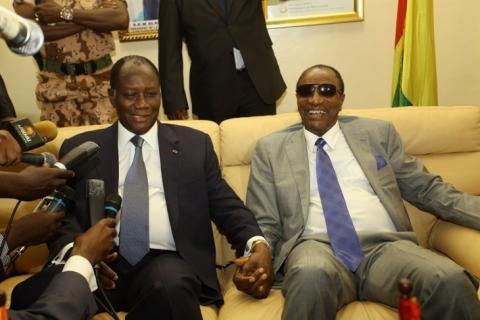 Alassane Ouattara, président ivoirien, et Alpha Condé de Guinée. Photo DR