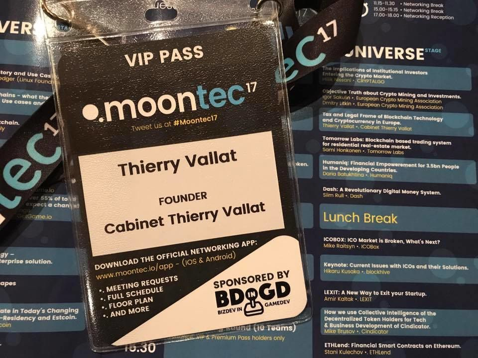 Tax and Legal Frame of blockchain Technology and Cryptocurrency in Europe: Thierry Vallat presentation in Moontec 2017 conference in Tallinn
