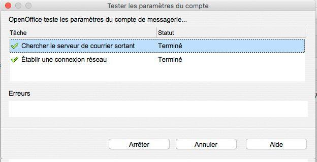 Paramètres de connexio entre OpenOffice Writer et Gmail
