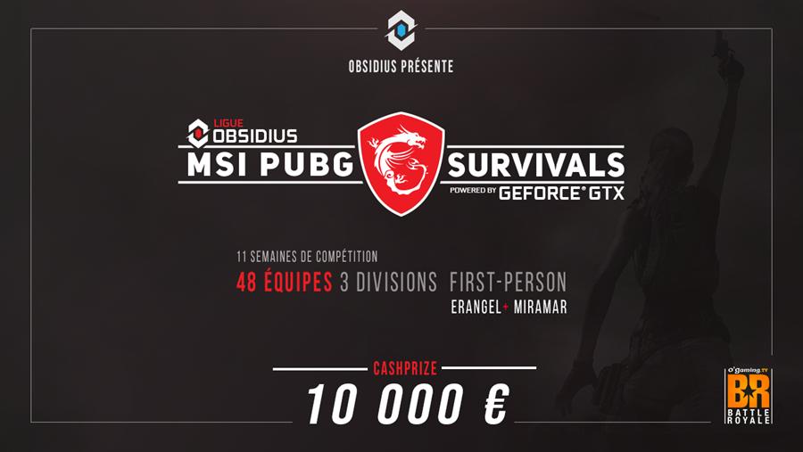 #Concours - #MSI et #Nvidia France annonce le lancement de la compétition MSI #PUBG Survivals avec en jeu un cashprize de 10 000 €