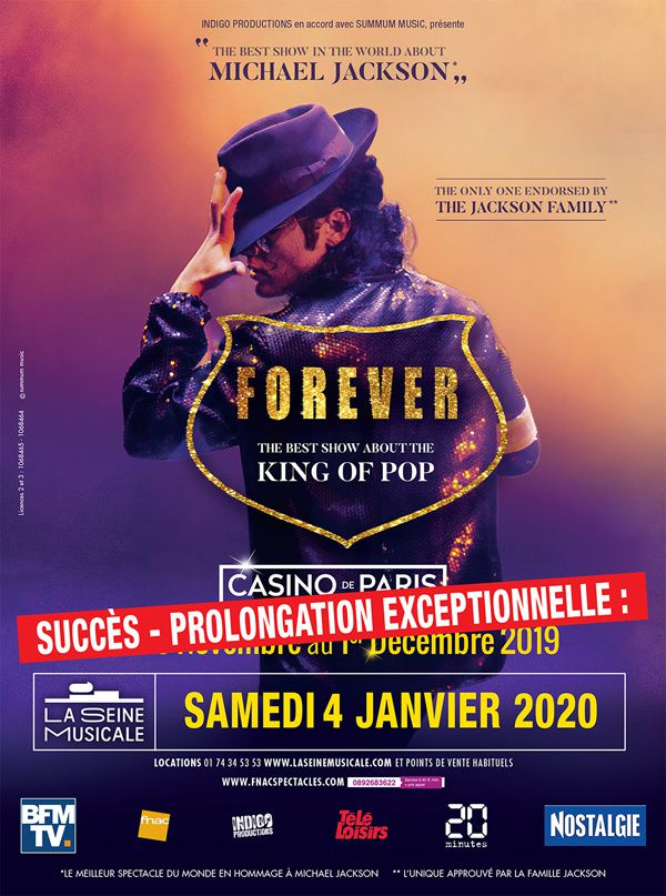 #Forever spectacle sur Michael Jackson date supplémentaire le 04/01 ! The Best show about the King of Pop