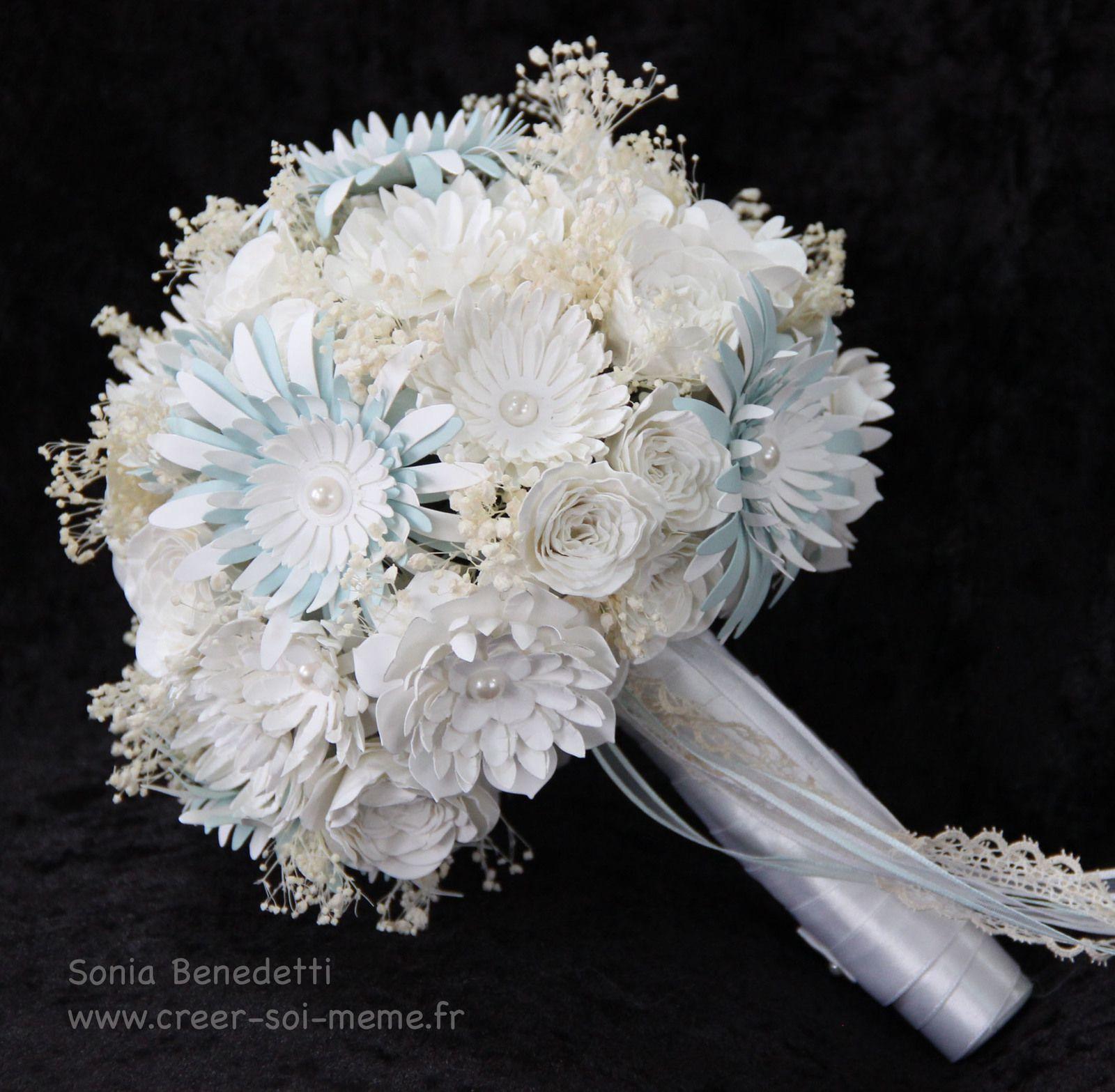 bouquet de mariée avec fleurs en papier fait main