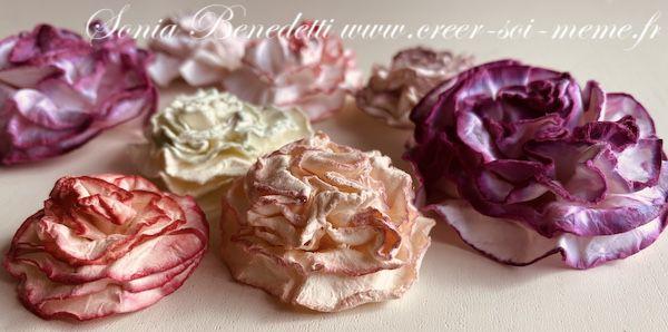 fleur en papier facile a confectionner avec des ronds en papiers