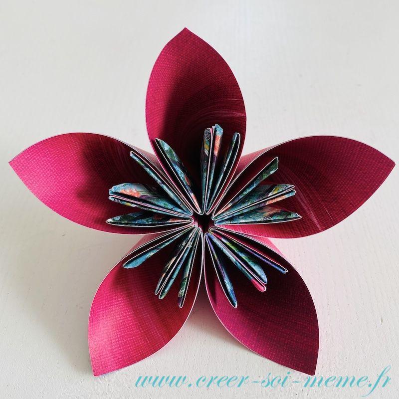fleur en origami avec papier Stampin'Up! facile a faire même avec des enfants