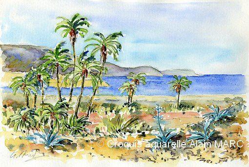 Plage au Cabo de Gata (Espagne - novembre 2010) aquarelle Alain MARC