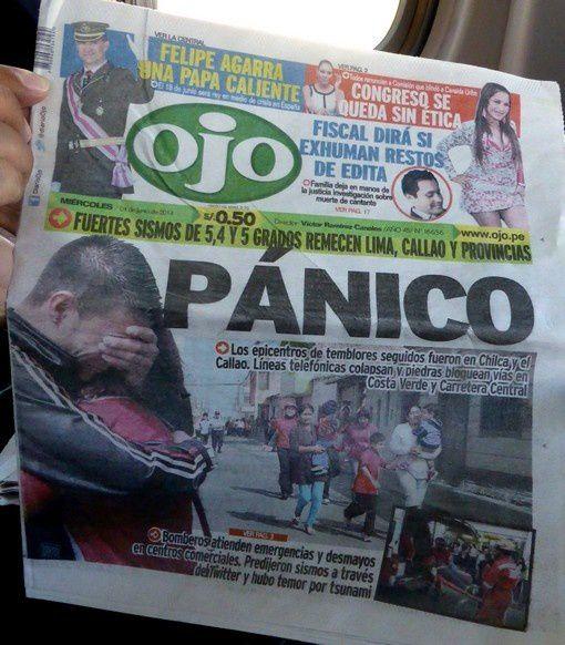 C'est le journal d'hier : panique à Lima et Callao, séisme important, etc.