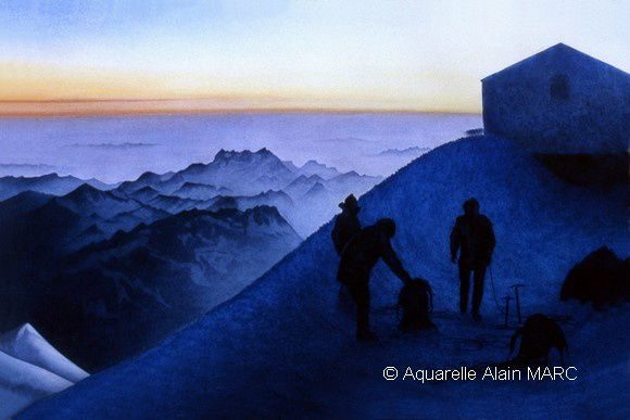 """""""Early morning at the Vallot refuge."""" Figurative watercolor 55 x 70 cm years 1970"""