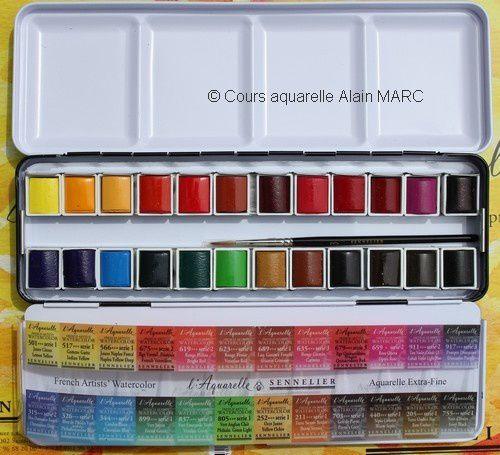 """Vous trouverez ma jolie plaette des couleurs aquarelle au miel Sennelier chez """"Aquarelle et Pinceaux"""" : n'hésitez pas à la leur commander de ma part, d'autant plus que vous l'aurez pour le moment à 88,70 € TTC au lieu de 110,88 € TTC !"""