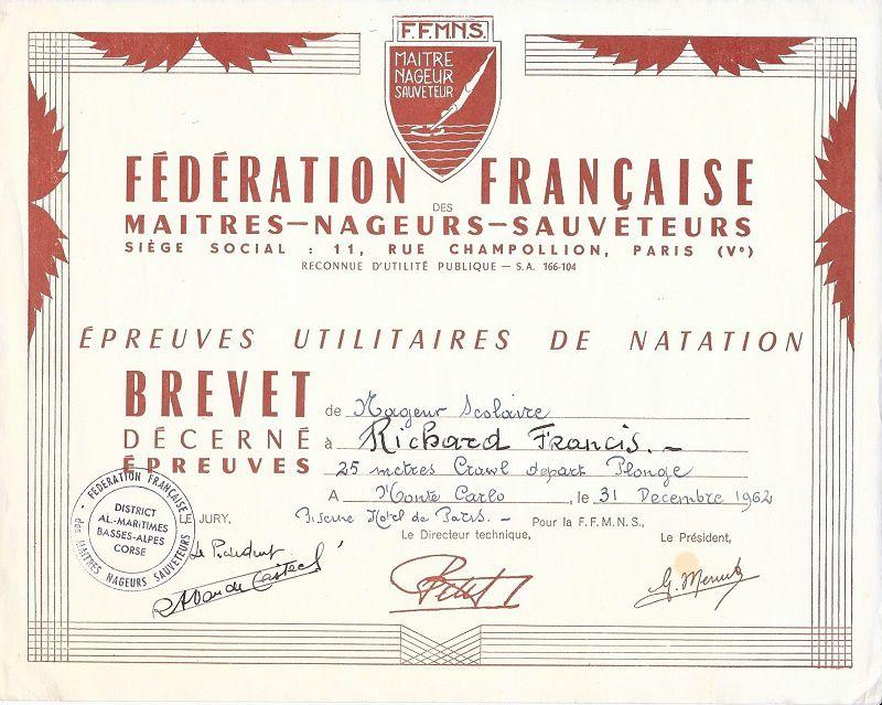 Brevet de 25 m nage libre en 1962