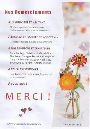 Un repas concert, avec le Choeur Parenthèse et La Croche Choeur, à Savigny