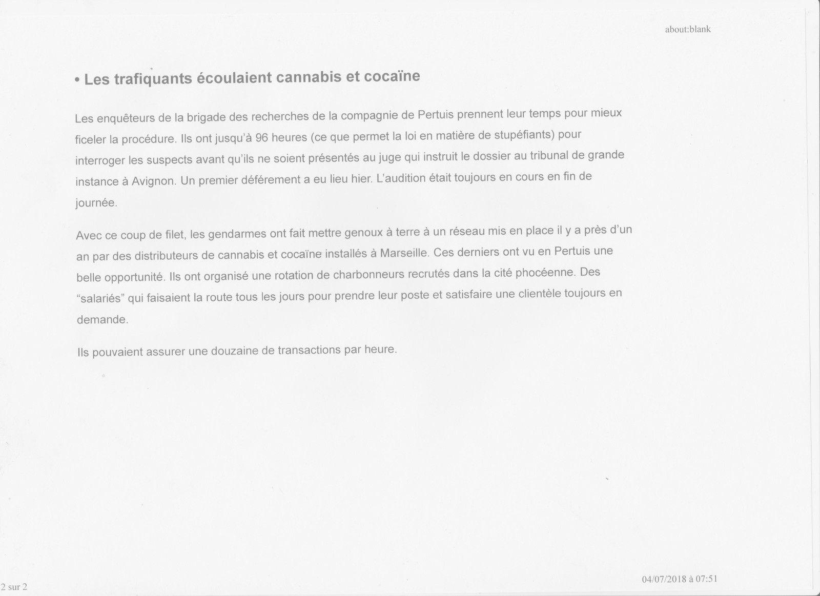 PREMIERS DEFEREMENTS POUR LES TRAFIQUANTS