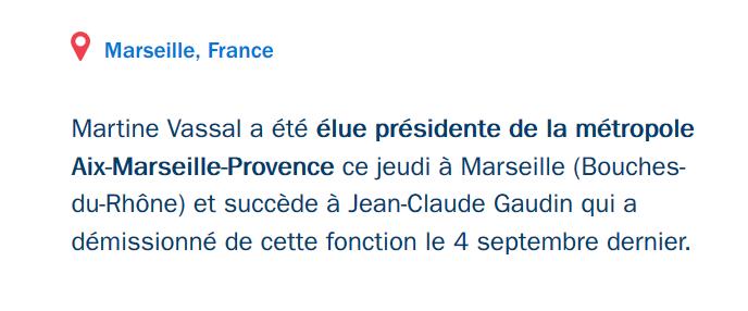 Martine Vassal élue présidente de la métropole Aix-Marseille-Provence