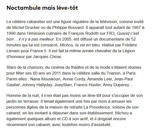 Michou, figure de la nuit parisienne, est mort ce dimanche à l'âge de 88 ans