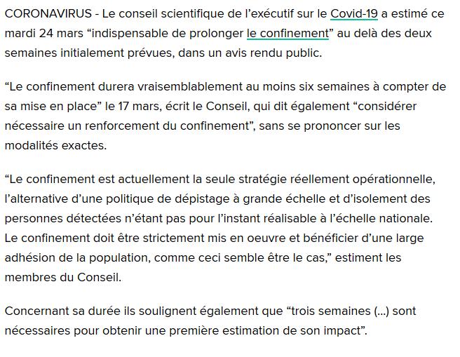 CORONAVIRUS: Le conseil scientifique indique un confinement étendu à 6 semaines