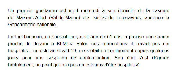 CORONAVIRUS: Un premier gendarme est mort du Covidis-19