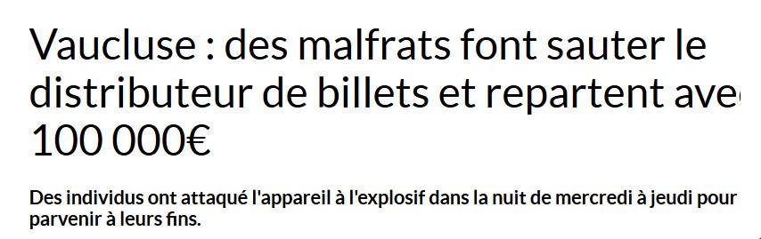 CUCURON: Des malfrats font sauter le DAB et repartent avec 100 000 euros