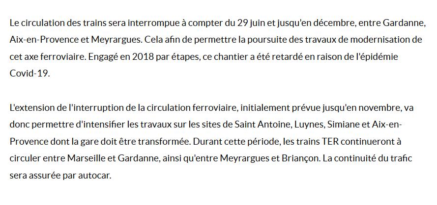 TRAVAUX SNCF: La ligne Gardanne-Aix-Meyrargues fermée entre le 29 juin et le mois de décembre