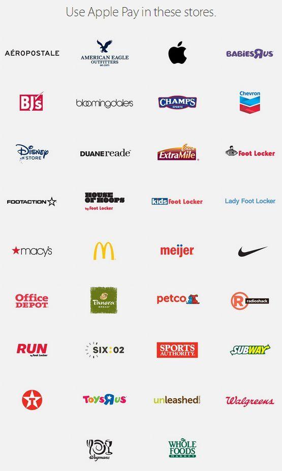 Les enseignes ayant signé un accord avec Apple pour Applepay.