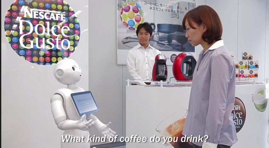 Pepper au centre des animations Nescafé en Asie... il vous aide à choisir quel café déguster en fonction de vos goûts