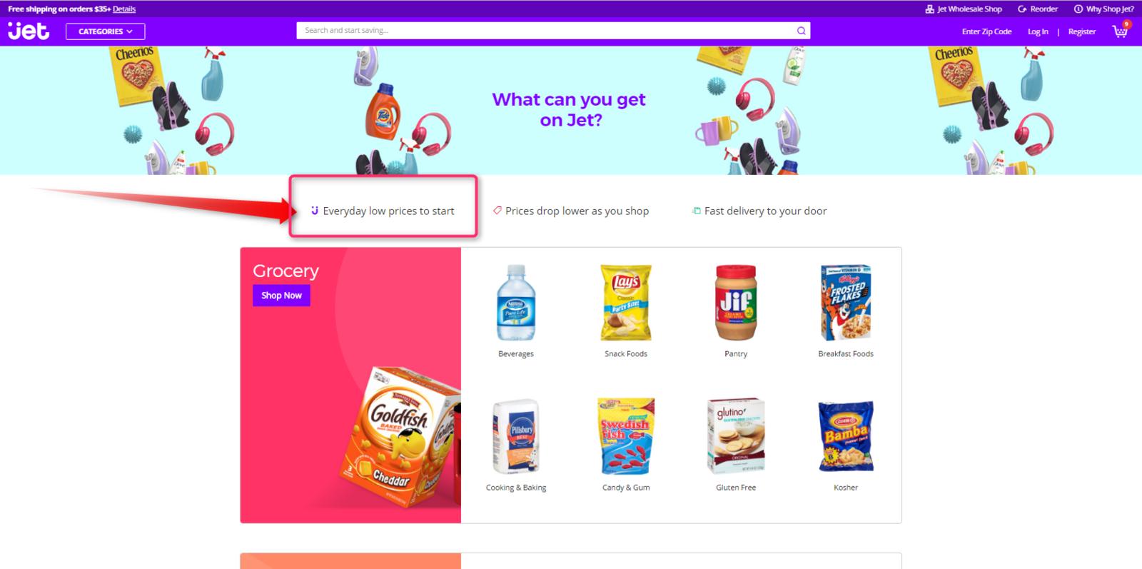 """Walmart annonce que pour l'instant, les sites restent autonomes.. mais le """" Every Day Low Price """" apparaît déjà dans la home page Jet !"""