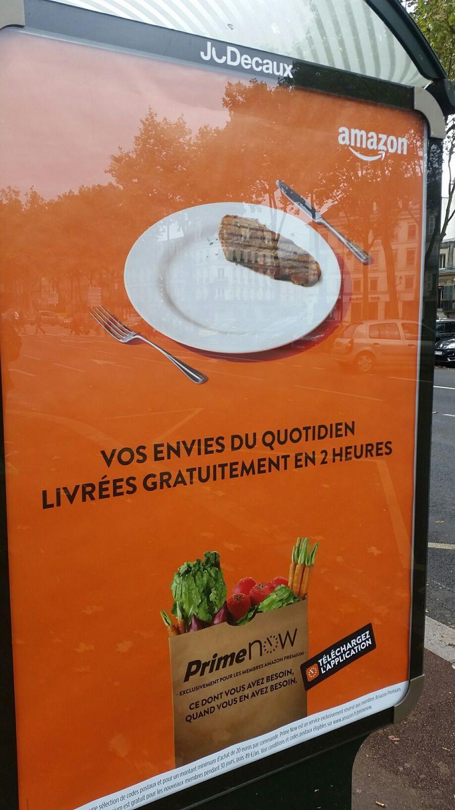 Regardez la composition du panier dans cette affiche : produits frais légumes attendus par un steak dans l'assiette... un signe. Pour l'autre, un bon film à la TV .