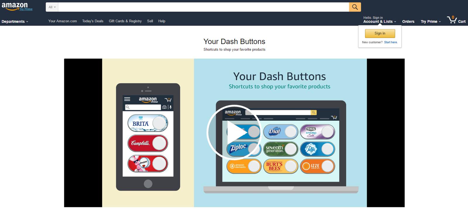Amazon Dash Virtual Buttons: un membre Prime peut créer ses propres boutons Amazon Dash virtuels.