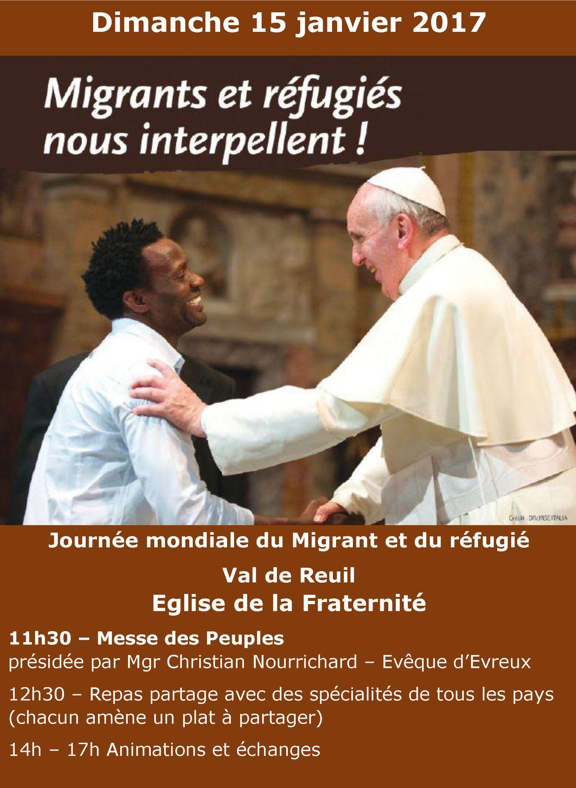 Dimanche 15 janvier 2017, journée des Migrants et des Réfugiés à Val de Reuil (Eure)