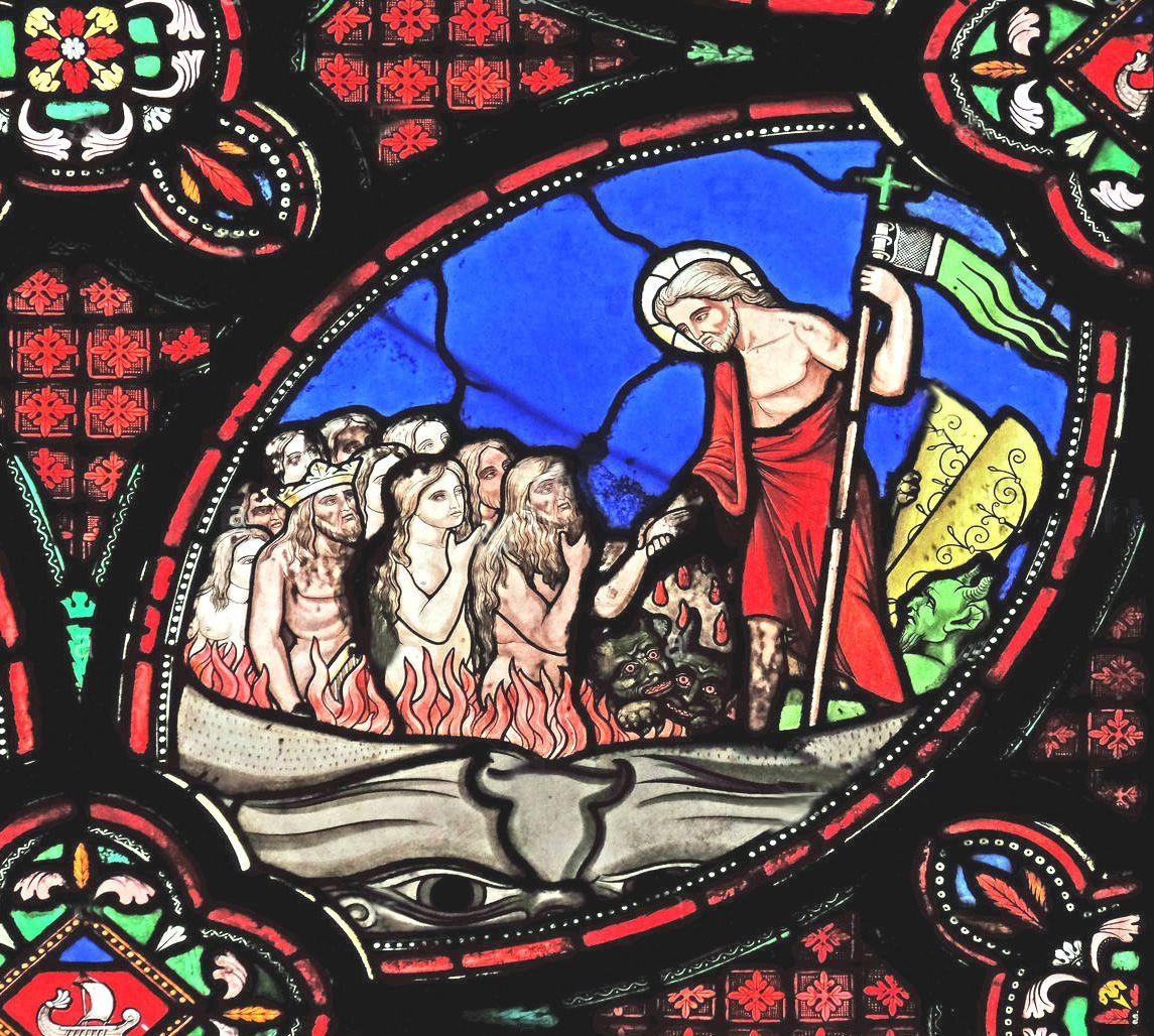 « Le Christ est descendu aux enfers » détail du vitrail du bas du chœur : « Passion et Vie Glorieuse du Christ » (1855 environ), du maitre verrier Laurent Charles MARECHAL (1801-1887), église Saint Germain l'Auxerrois (Paris, 1er)