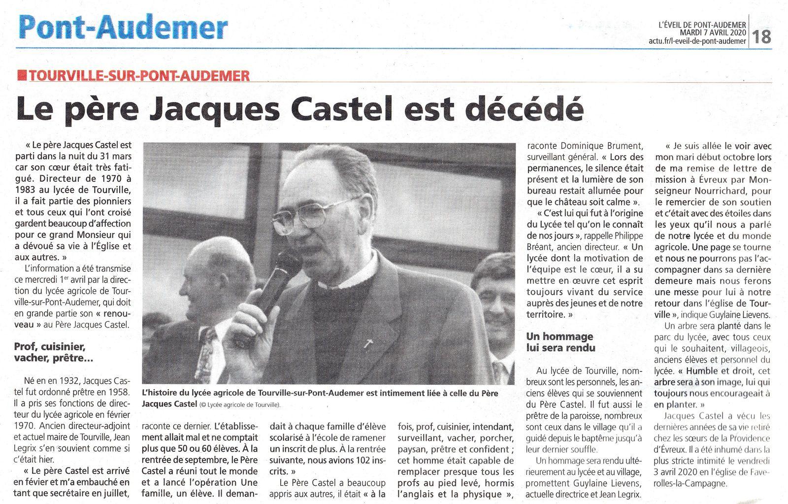 Jacques CASTEL, Prêtre du Diocèse d'Evreux, Pionnier de la présence de l'Eglise au monde Agricole