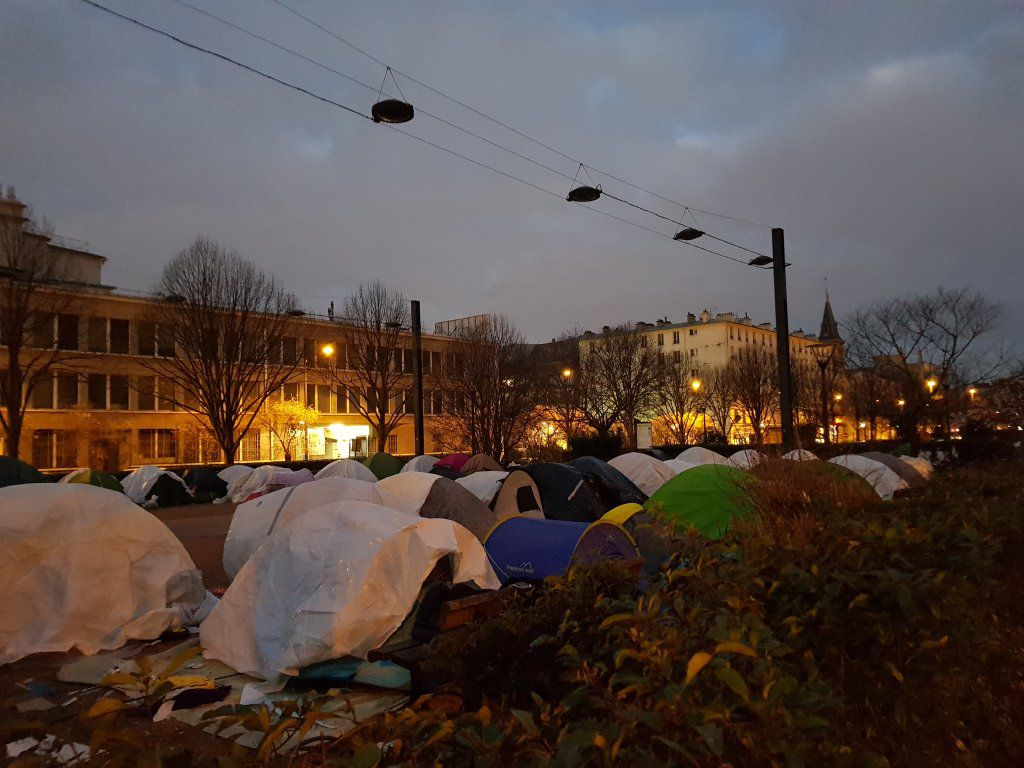 Un campement de migrants à Saint-Denis, au nord de Paris, en janvier 2019. Crédit : InfoMigrants