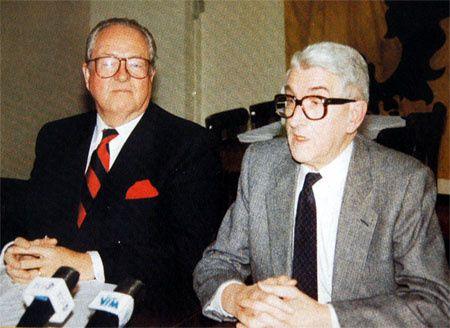Karel Dillen, le fondateur du Vlaams Blok,  avec Le Pen