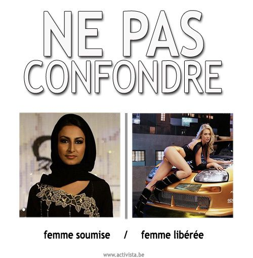 Les femmes voilées ne sont pas toujours des esclaves soumises. Qui est la plus soumise des deux ? Cette femme au foulard ou cette fille dévêtue posant pour la pub d'une voiture ?
