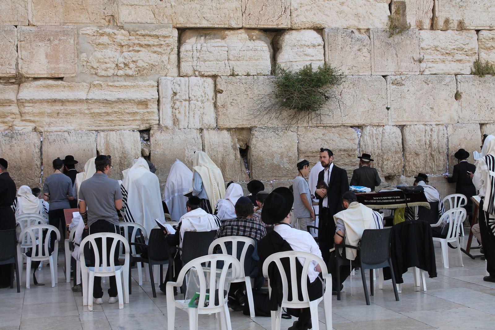 Des fidèles Juifs prient devant le Mur occidental, autrefois appelé Mur des lamentations.