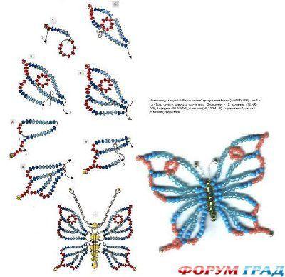 Beaux papillons en perle et feutrine