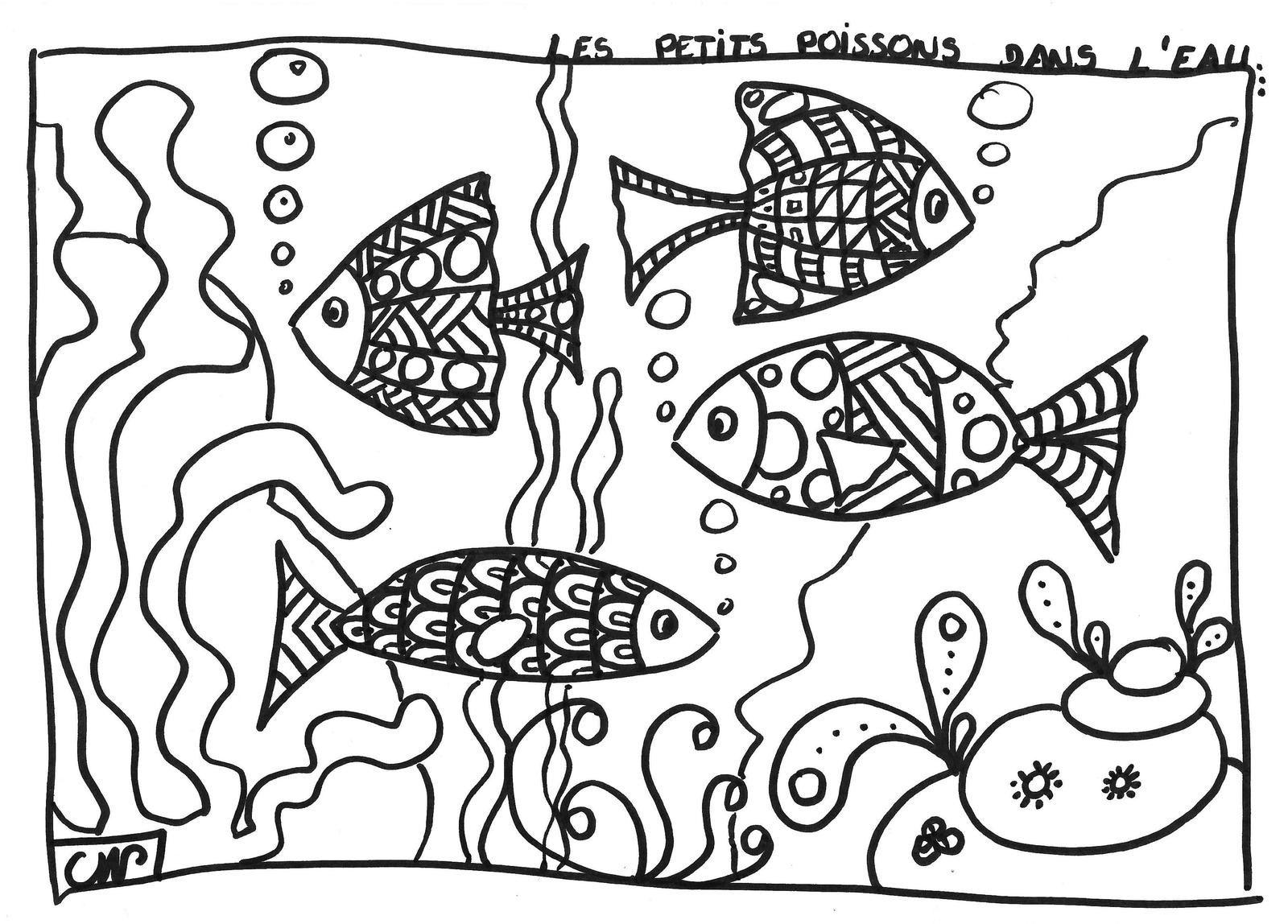 coloriages: les petits poissons....