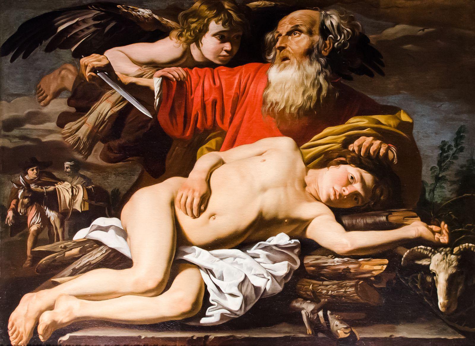 Le Sacrifice d'Isaac de Matthias Stom (1589-1650),  huile sur toile, Musée Fesch, Ajaccio, France.