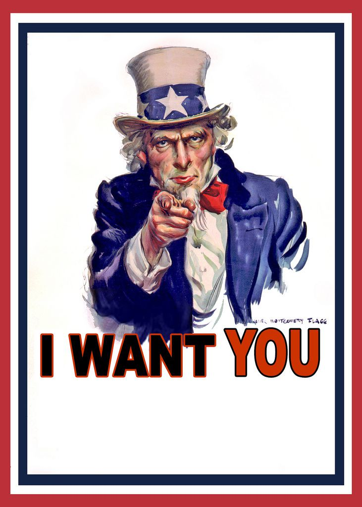 Uncle Sam Wants You, affiche représentant l'Oncle Sam, allégorie des Etats-Unis, par James Montgomery Flagg, en 1917.