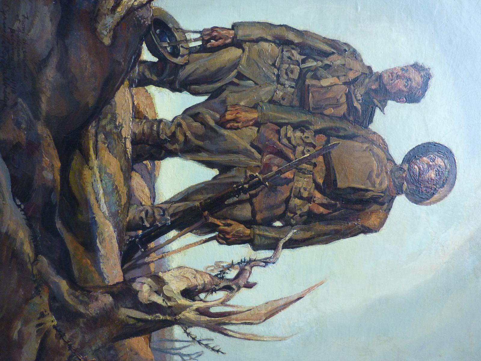 Cyrus Le Roy Baldrige (1889-1977), artiste, illustrateur, auteur et aventurier américain. Soldats américains sur le front de Belgique. Musée franco-américain du château de Blérancourt, Aisne, France.