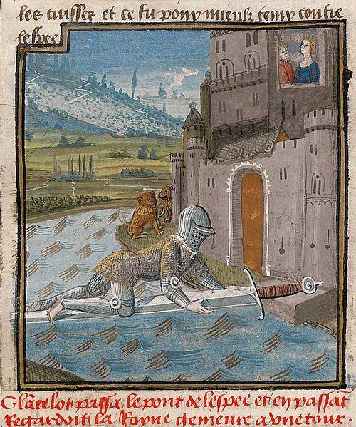 Lancelot passant le pont de l'Epée, enluminure d'un manuscrit en quatre volumes réalisée pour Jacques D'Armagnac, duc de Nemours. Atelier d'Evrard d'Espinques. Centre de la France (Ahun), vers 1475.