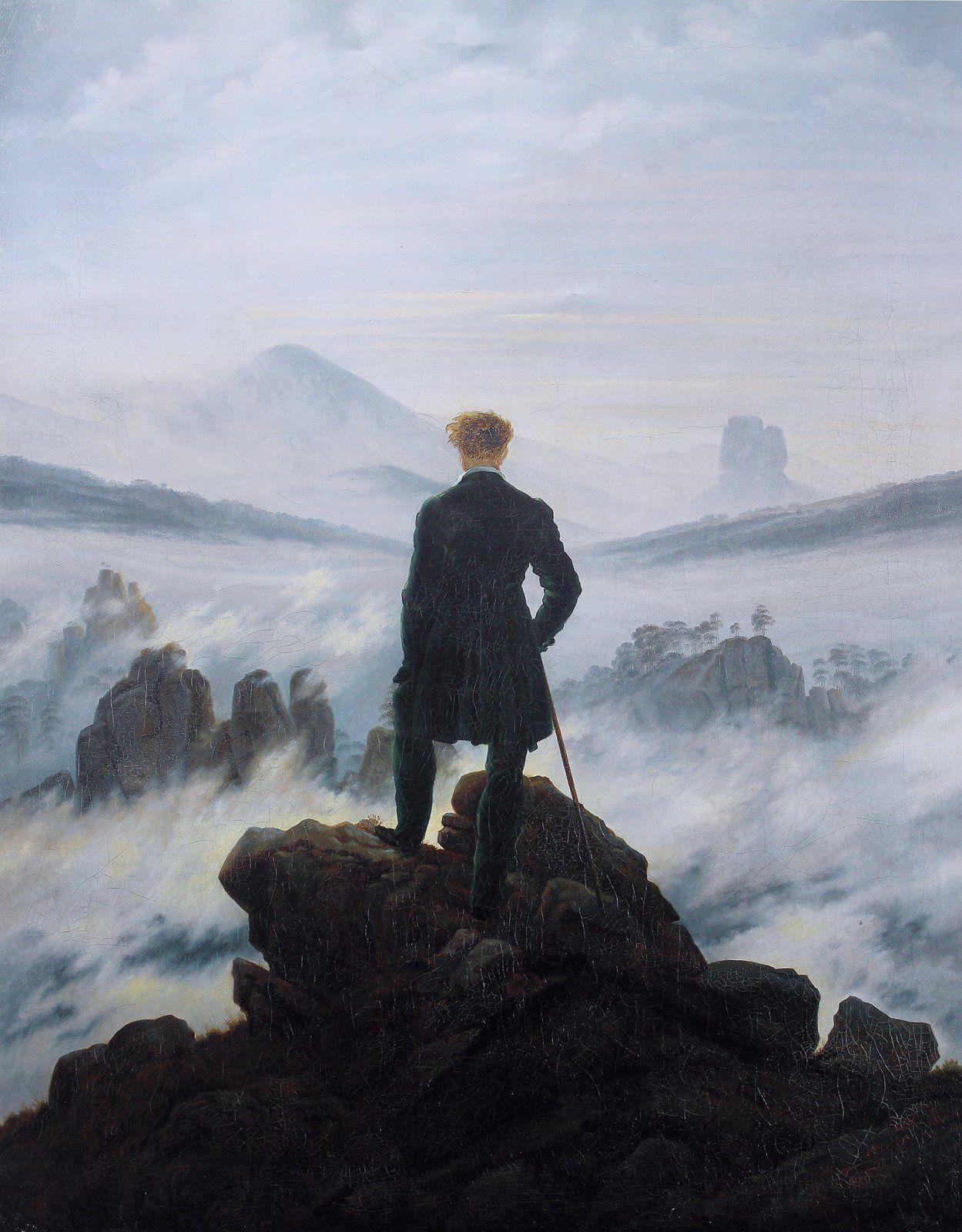 Caspar David Friedrich (1774-1840), Le Voyageur contemplant une mer de nuages (1818, Hambourg, Allemagne)