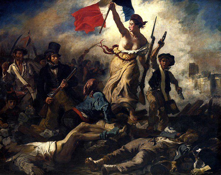 Eugène Delacroix (1798-1863), La liberté guidant le peuple (1830), huile sur toile, 260 x 325, Peinture historique romantique. Commémore les Trois Glorieuses (la Révolution de Juillet) le 28 juillet 1830. Musée du Louvre, Paris, France.