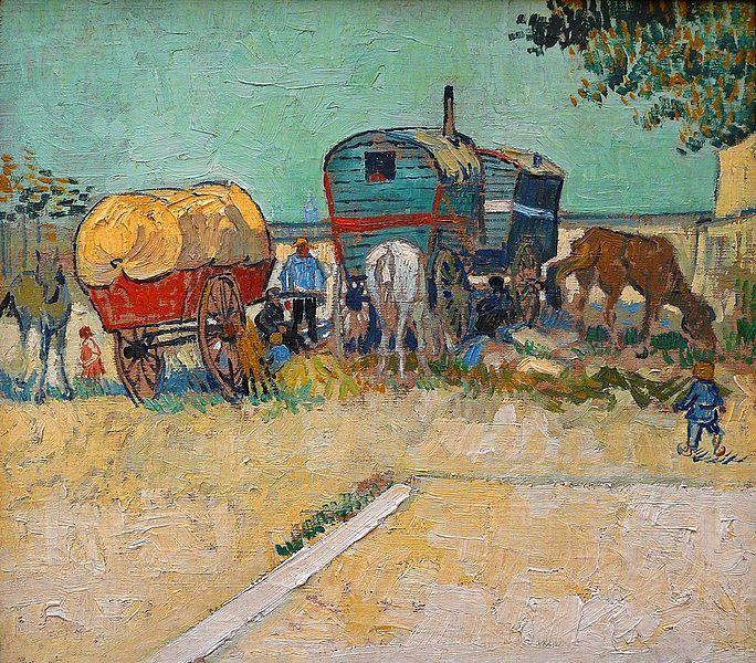 Vincent Van Gogh (1853-1890), Les roulottes, campement de bohémiens aux environs d'Arles, 1888, huile sur toile, 45 x 51, Musée d'Orsay, Paris, France.