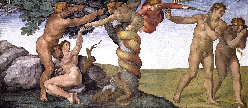 Michel-Ange, Le Fruit défendu, détail de la Chapelle Sixtine, Vatican.