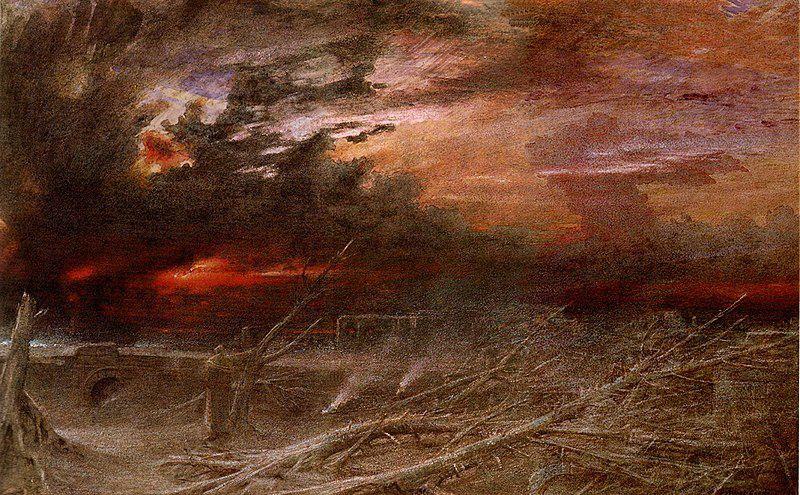 Apocalypse, 1903. Albert Goodwin  était un peintre paysagiste anglais remarquable, spécialisé dans l'aquarelle. Son travail montre les influences de Turner et de la Fraternité préraphaélite. Goodwin est né à Maidstone, dans le Kent, fils d'un constructeur et de l'un des neuf enfants.