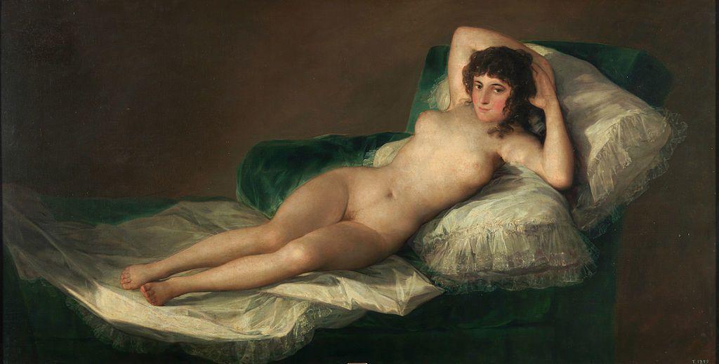 La Maja nue (La Maja desnuda) est un tableau réalisé sur commande et peint avant 1800 par Goya, plus précisément entre 1790 et 1800. Musée du Prado, Madrid, Espagne.