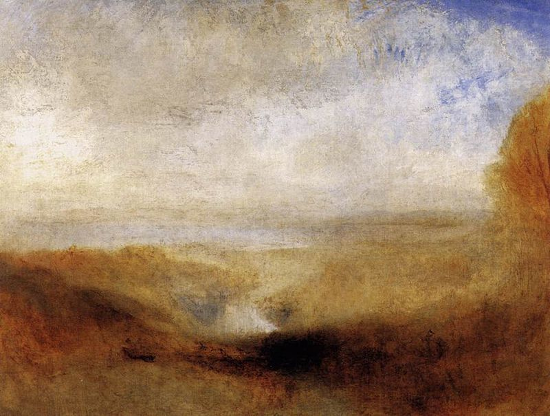 Turner, Landscape with a River and a Bay in the Background, huile sur toile, 93x123, 1835-1840, Musée du Louvre, Paris, France.