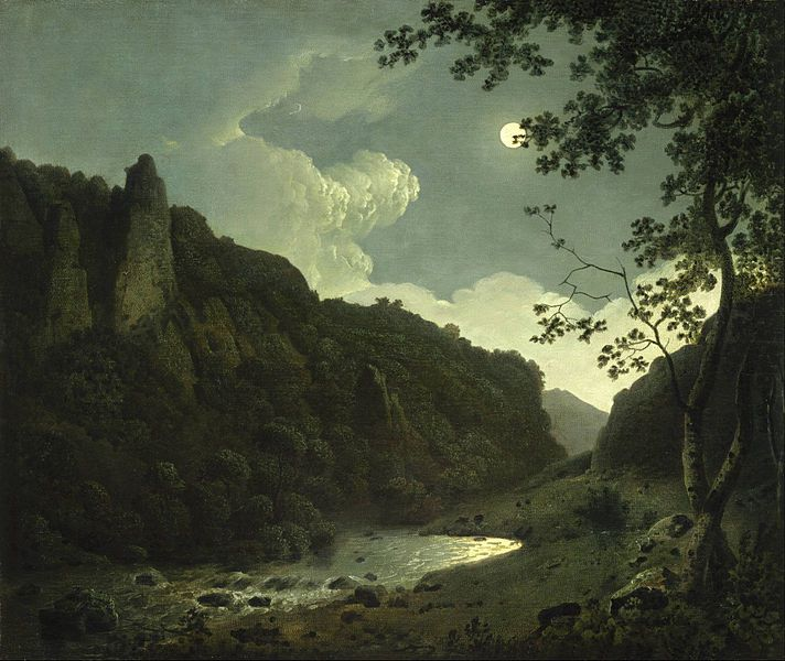 Joseph Wright of Derby, Dovedale by Moonlight, huile sur toile, 1785, Museum of Fine Arts, Boston, USA.
