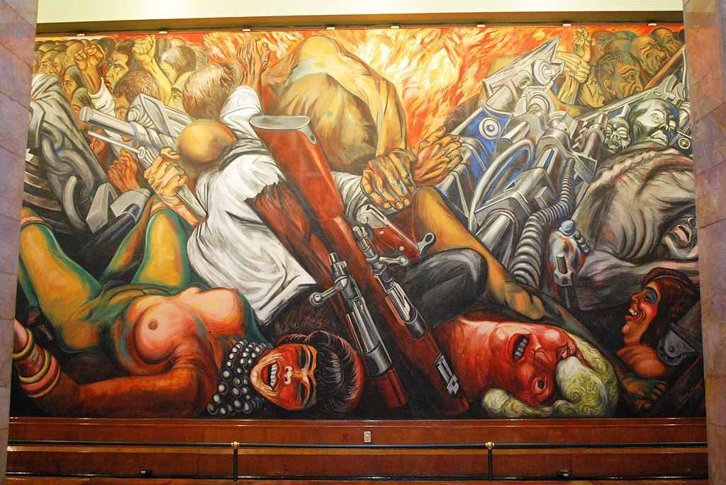 "Mexico City. Palacio de Bellas Artes: Mural ""Catarsis"" ( 1934 ) by Jose Clemente Orozco (detail)."