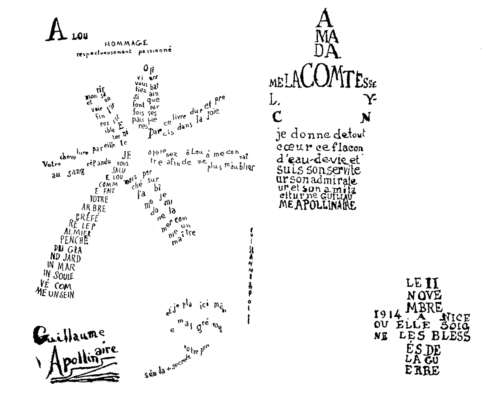 "Guillaume Apollinaire, ""Hommage à Lou"", Calligrammes, 1918."