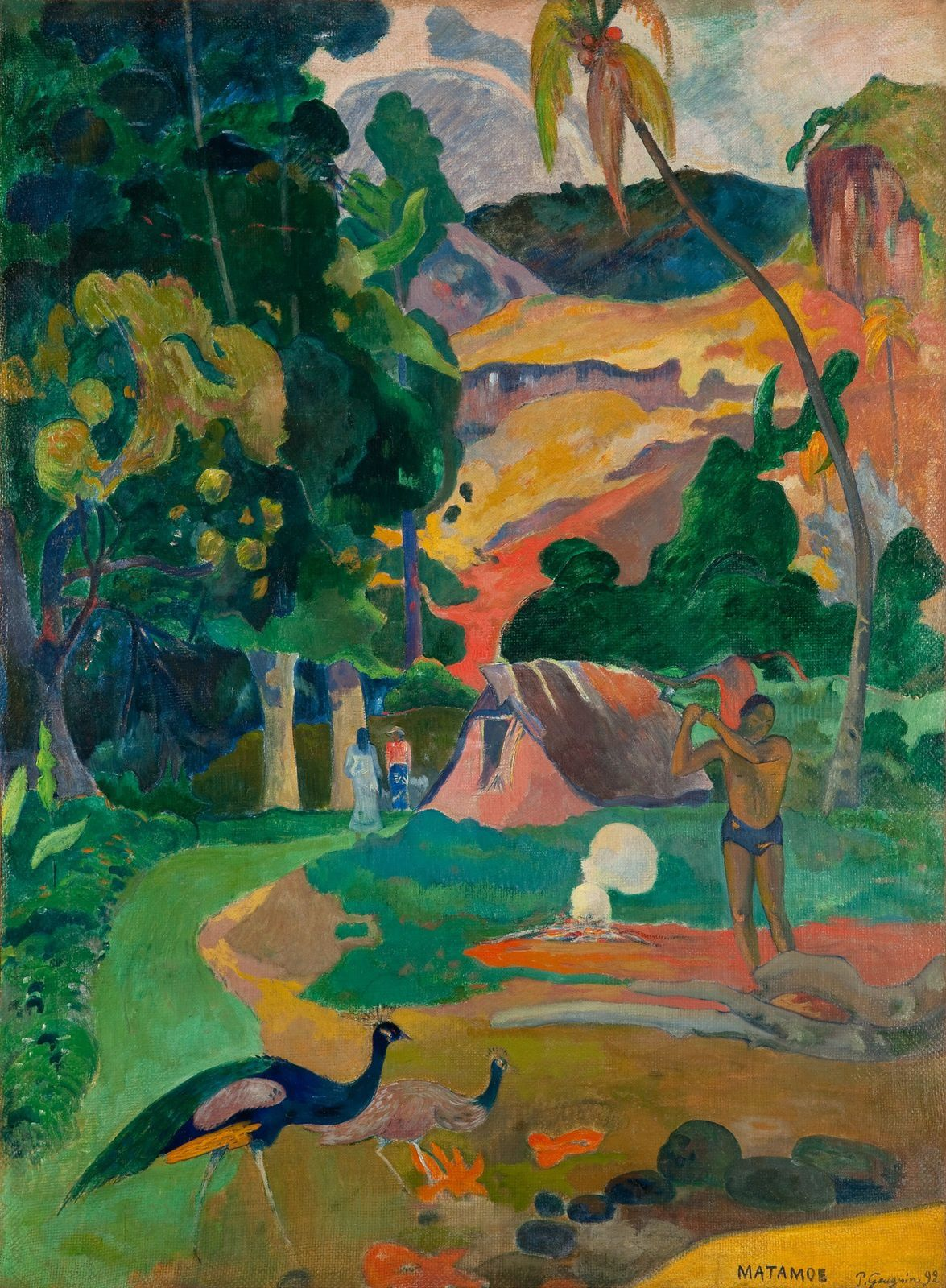 Paul Gauguin, Tahitian: Matamoe Matamoe (Death), Landscape with Peacocks, 1892, Pushkin State Museum of Fine Arts, Russie.